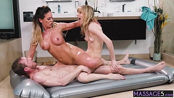 Sexy lesbians shared guys big hard cock after massage