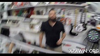 Daring woman has sex in shop