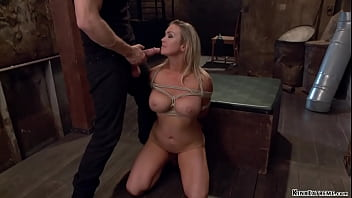 Bound busty blonde MILF gets ass vibed