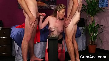 Kinky idol gets sperm load on her face swallowing all the love juice