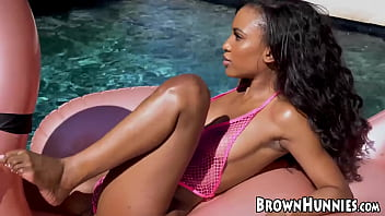 Chocolate goddess Demi Sutra fucked by the poolside