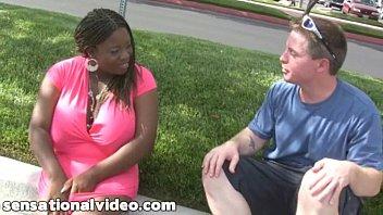 Huge Tit Black BBW Slut Gets Fucked By Huge White Cock thumbnail