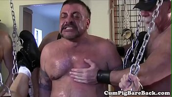 Gay in leather man tight young Suspended otter breeded in bear gangbang