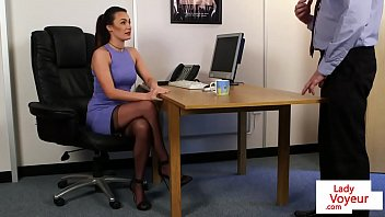 Office femdom instructs sub to jerk till cum thumbnail