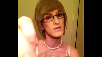 Crossdresser cum tube - Eating my cum- crossdresser sissy fay