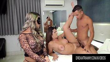 Masked Tgirl Juliana Leal Helps TS Janaina Carvalho Satisfy Her Boyfriend