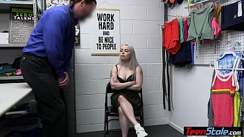 Blonde teen shoplifter Haley Spades learning the rules on two big dicks
