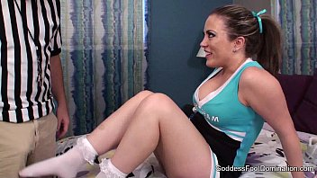 Girls in sexy frilly socks - Cheerleader blackmails ref