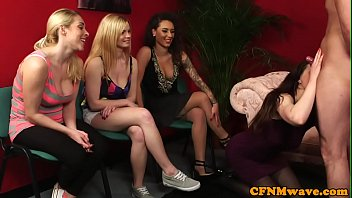 Cockhungry cfnm babes pleasing guy