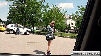 Blonde Czech teen bangs in car POV with stranger 8 min