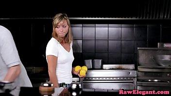 Euro babe anally creamed in restaurant kitchen thumbnail