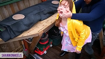 'Please don't tell my Parents' - Squirting Slut Gets Caught in Shed and Ass Fucked - Shannon Heels