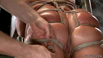 Huge ass tied blonde riding dildo