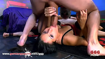 Raven Haired Cum Whores Painted White with Cum Compilation