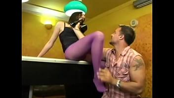 Slut in purple stockings fucked on pool table