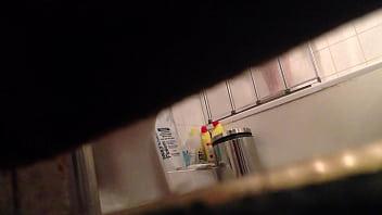 Spying On My Flatmates Beautiful Genitals In The Shower Under Door Crack