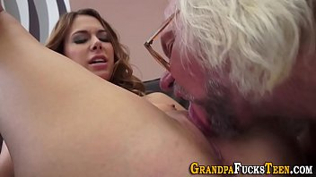 Teen sucks old mans dick and gets fucked