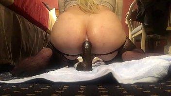 Big Butt Shemale Jada Grinding Her Phat White Ass on a Big Black Dildo