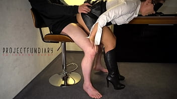 sexy secretary fucked after work in leather skirt and boots ends with cum on her slutty face - projectsexdiary 9分钟