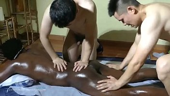 Real black gays porn - 4 hands massage on black guy