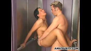 Hot amateur couple fucking in public place