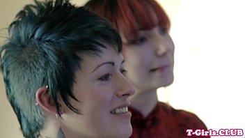 Lesbian tgirls Inked transgirl straponfucked by redhead babe