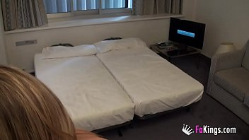 College girl with great tits bangs a room service guy in her hotel room