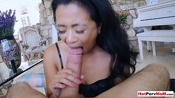 Fucking my small titted asian mature stepmothers pussy
