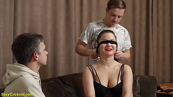 her first real blindfold cuckold sex