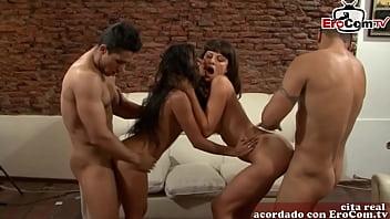 Spanish latina homemade gangbang and groupsex