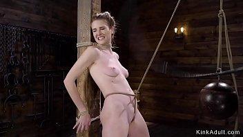 Brunette sub gets whipped in hogtie