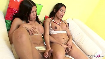 ▶▶ Two Brazilian Shemale TS Fuck each other Anal to Cum on Tits ◀◀