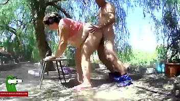 At four legs in the outdoors. MILF caught with a hidden spycam RAF344