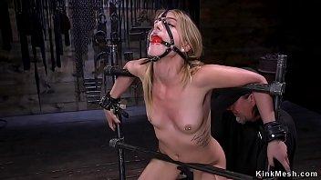 Gagged blindfolded blonde tormented in bondage