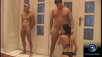 Seductress Miu Lee begging for two guys to suck their hard rods