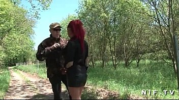 French redhead slut gets ass fucked in threesome outdoor 6 min