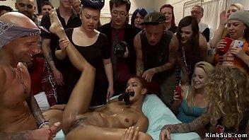 Ebony squirter anal fucking in public