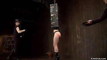 Master and mistress torment bound slut
