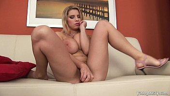 Young chesty blonde Kathy ride a huge toy