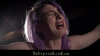 Uncircumcised adult with painful sex - Purple hair slave rough spanked and dominated in hardcore fetish