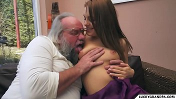 a brunette for the horny grandpa 6 min