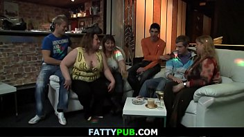 Chubby party girl takes off her clothes at bbw party
