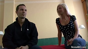 German Amateur Teen in First Time Casting with Stranger Boy 9 min
