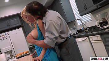Busty milf Alexis Fawx licked and fucked in the kitchen