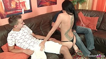 German Teen Meli Deluxe First Threesome with BF and Stranger 15 min
