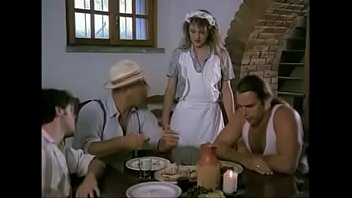 cute italiana waitress gangbanged by three workers