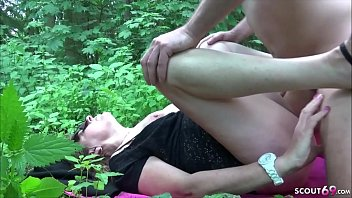 Grandma Hilde get Fuck by Young Boy Outdoor on Family Picnic