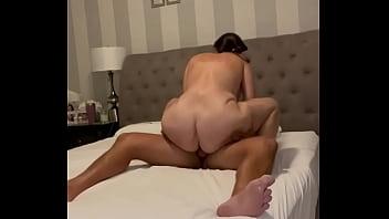 Big ass wife rides cock