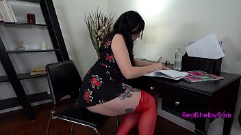 Office slut Shelby Paris teases her boss with her toy, he blackmails her into getting a creampie with his big dick