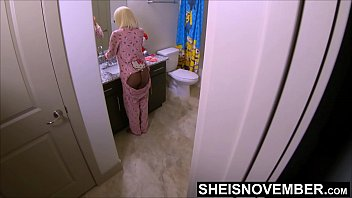Orgasm voyuer Step dad stalking black step daughter on the commode for pussy, msnovember young ebony ass yanked off of the toilet while pissing by horny father in law and savagely fucked hardcore standing up while her mom is sleeping on sheisnovember